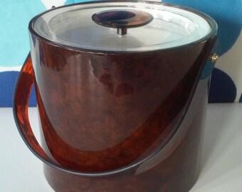 Vintage Georges Briard Ice Bucket- Tortoise Shell Pattern Design