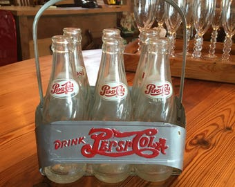 Vintage Pepsi Cola Bottles and Aluminum Carrier