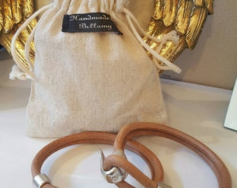 MEN'S real leather wristband with antique silver fastenings...with linen gift bag