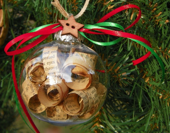 Rolled Book Page Christmas Ornaments