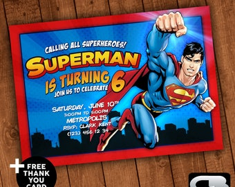 Superman Invitation with FREE Thank You Card - Superman Invite - Superman Birthday Party - Superman Digital File Download