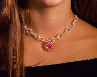 Pearl and pink Swarovski necklace and earrings