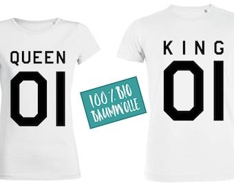 QUEEN & KING partner fun T-Shirts, 100% organic cotton, black white o.