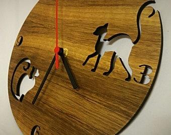 cat o'clock,cat clock,cat wall clock,catlover clock,cat wood clock,cat laser clock,wall clock cat,acrylic cat clock,acrylic clock,cat walks