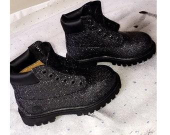 Black Glitter Timberland Boots