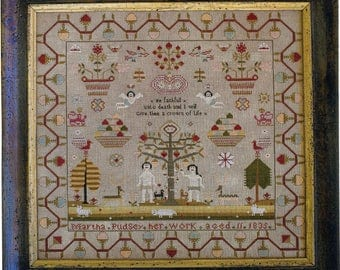 Martha Pudsey 1835 Reproduction Sampler by Scarlett House Counted Cross Stitch Pattern/Chart