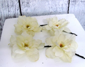 Bridesmaid hair pins, White silk flower hair pin, White wedding hair accessories, flower girl hair pin, prom hair, wedding accessories,