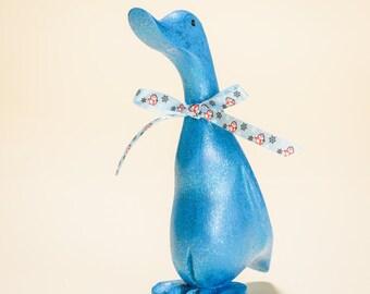 Blue glitter sparkle hand painted wooden duck, Christmas decoration, Duckling, Cute ducky, Unusual & unique, Secret Santa gifts, Snowman,