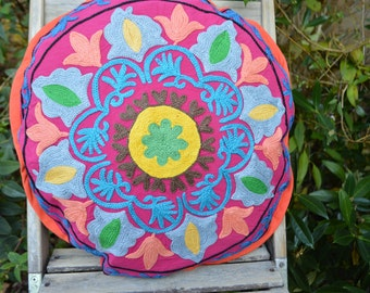 SALE. Floral embroidery round cushion cover, colourful Suzani pillow case, decorative cushion, ASL0005