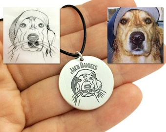 Custom Dog Necklace, Personalized Dog Portrait Necklace, Dog Lover Necklace, Pet Memorial Necklace, Animal Portrait Necklace