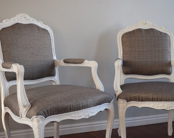 French Chairs, Set of French Chairs, White and Grey, Whimsical Chairs, Unique Chairs, Living Room Chairs, Upholstered Chair, Accent Chair