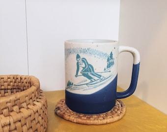 Vintage stoneware ski mug speckled mug speckled stoneware mug skiing mug