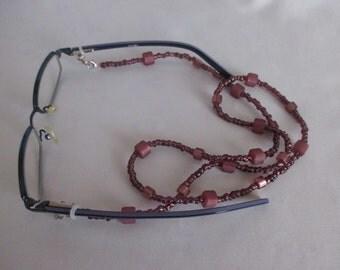 Necklace Bracelet 3-in-1 berry tones handmade length 71 cm