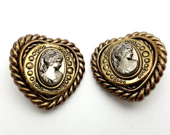 Clip On Gold and Silver Tone Cameo 80s Earrings Beautiful Victorian Lady Silhouette Heart Stud Earrings Vintage Woman Profile