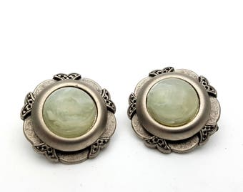Clip On Silver Tone Plastic with Faux Marble Stone Round Stud Earrings Vintage 80s Fashion Lightweight Simple Adorned Detailing
