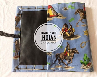 Roll up Chalk Mat Cowboy and Indian, rollup chalkmat, roll up chalk mat, blackboard mat, travel toy
