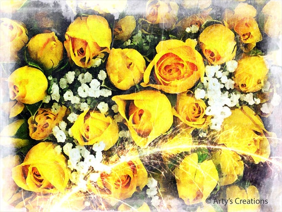 Fireworks of Yellow Roses - Original Color Photo Print