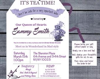 Tea bag shaped bridal shower invitation - Alice in Wonderland Inspired