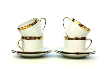Set of 4 Tea Cups & Matching Saucers Madison Gold by Bernardaud [BERMADI], Phoebe, Gold Encrusted, Gold Trim from Limoges France