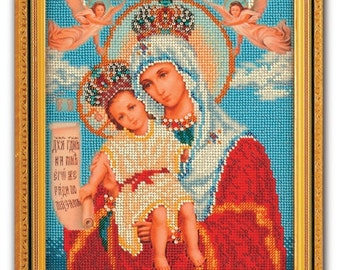 Bead Embroidery Kit DIY Icon Our Lady The Merciful Canvas Glass Beads Guide Beginners