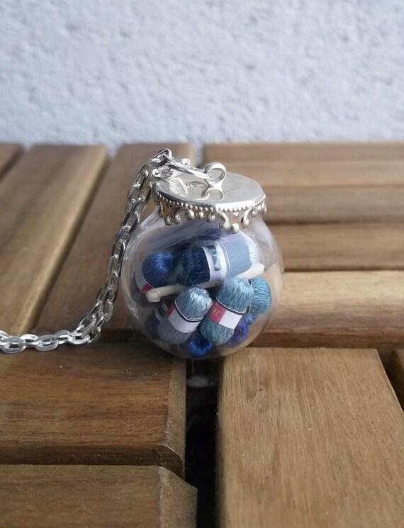 crocheter gift, yarn necklace, gift for crocheter, crochet hook pendant, silver round glass vial, blue crochet, original unique gift