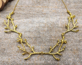 Gold Branch Necklace, Twig Branch Necklace, Twig Jewelry, Nature Woodland Forest Necklace, Gift for Her