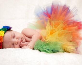 Rainbow felt flower headband and tutu/ rainbow headband/ baby tutu/ rainbow baby headband/ rainbow tutu/ rainbow baby gift/ tutu set