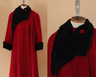 SALE Vintage Red Wool Coat // Black Sheepskin Trim // was 185.41