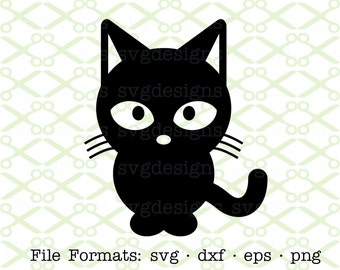 Cartoon Cat SVG, Dxf, Eps & Png. Digital Cut Files for Cricut, Silhouette; Cat Clipart, Svg Files, Svg Designs, Kitty Svg, Silhouette SVG