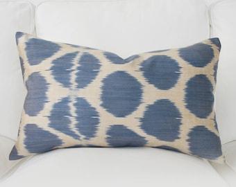 all size handwoven silk organic modern ikat pillows blue ikat pillow cover ikat throw