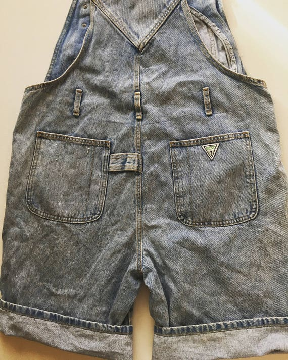 Vintage GUESS overalls 1990s denim short overalls mens size Medium