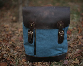 Blue Canvas Backpack/ Leather backpack/ Waxed canvas backpack/Canvas rucksack/ Laptop backpack/ Mens backpack/ Canvas bag