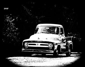Trucks 7275 - Black & White Landscape Drawing - 4x6 Print