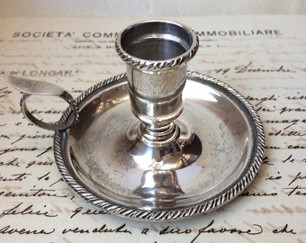 Silver bedchamber candle holder, bedroom candle holder, silver 800, vintage candle holder, silver candle holder, Italian silver