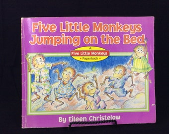 1989 Five Little Monkeys Jumping on the Bed children's paperback book - 80s kids books