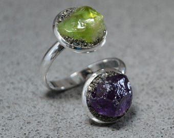 February Birthstone Jewelry Raw Amethyst Ring Raw Peridot Ring August Birthstone Jewelry Mother Daughter Ring Multistone Ring Family Jewelry