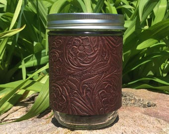 Botanical Embossed Leather Hand-stitched Mason Jar Sleeve