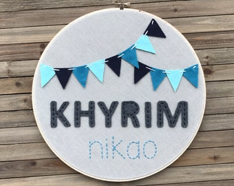 Embroidery Hoop with Felt Banner