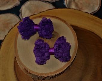 Purple rosette bow pigtail set