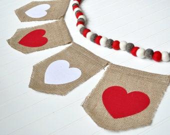 Valentines Day Decor, Valentines Day Burlap Banner, Valentines Day Sign, Red and White Burlap Banner, Heart Burlap Banner, Heart Decor