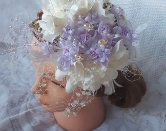 Wedding Fascinator White and Lavender Hairband Hat