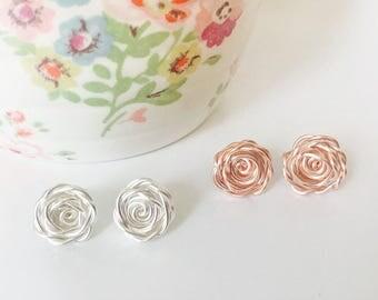 Bridesmaid Earrings, Rose Earring Studs, Rose Earrings, Bridal Stud Earrings, Bridesmaid Gift, Wedding Jewellery, Romantic Gift, Bride to Be
