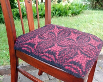 handwoven and felted warm pure wool chair cushion in black and red