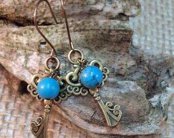 Dangle earrings, key, turquoise, fish hook earrings,vintage key earrings, gift for her,birthday gift,anniversary gift, gift under 25