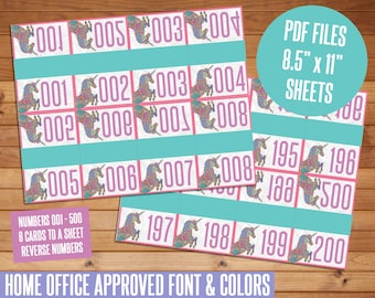 """SALE! Live Sale Number Cards, Unicorn Cards, Numbers 001 - 500, Reverse Numbers, 8.5""""x11"""" Sheets, HO Approved Fonts, Live Sale Numbers, LLR"""