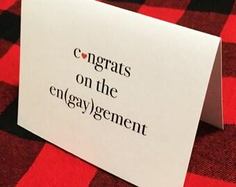 Congrats on the en(gay)gement card // Gay Wedding Card // Gay Engagement Card // LGBTQ Wedding // Lesbian Wedding / Queer Wedding / Gay Gift