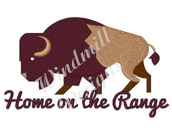 Home On The Range Buffalo - Machine Embroidery Design