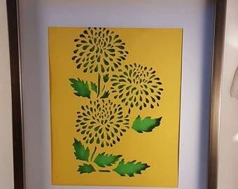 Flower handcut paper art