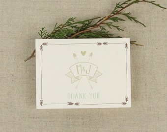 Campy Arrow Banner Wedding Thank You Folded Note Card with initials // A2 Broadfold Thank You Card with A2 Envelope - KW1