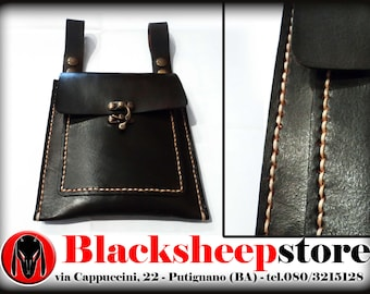 Scarsella in leather, pouch, belt Bikers, Made in Italy, hand stitching customizable in different colors